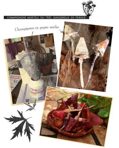 champignons,cèpes,papier mâché